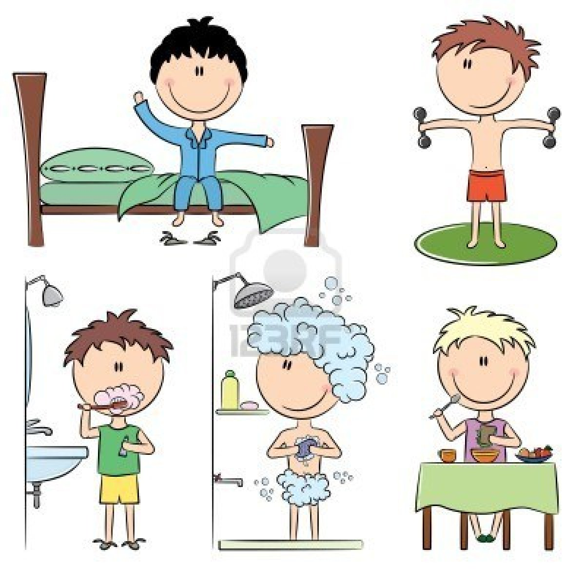 8663576-daily-morning-boys-life-including-wake-up-morning-exercises-teeth-cleaning-shower-and-breakfast